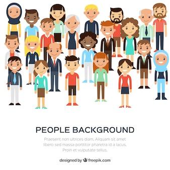 Fondo de diversidad de personas en diseño plano