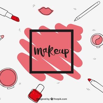 Fondo divertido con maquillaje dibujado a mano
