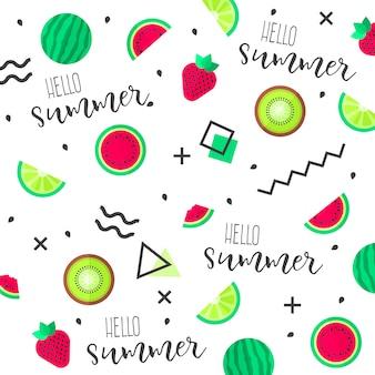 Fondo divertido de frutas tropicales