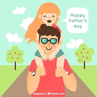 Fondo divertido de hija sobre los hombros de su padre