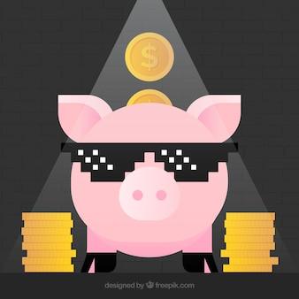 Fondo divertido con hucha simpática y monedas