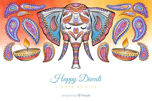 Fondo de diwali acuarela y concepto de elefante