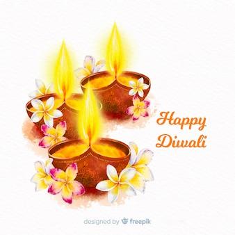 Fondo diwali acuarela con velas y flores.