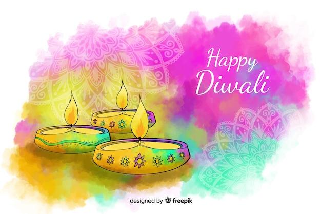 Fondo diwali acuarela con velas