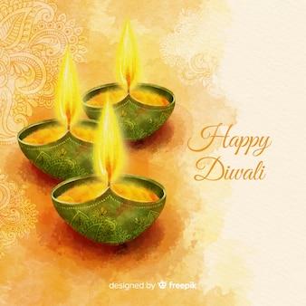 Fondo de diwali adorable en acuarela