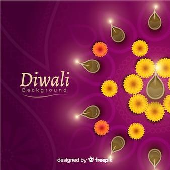 Fondo de diwali adorable con diseño realista