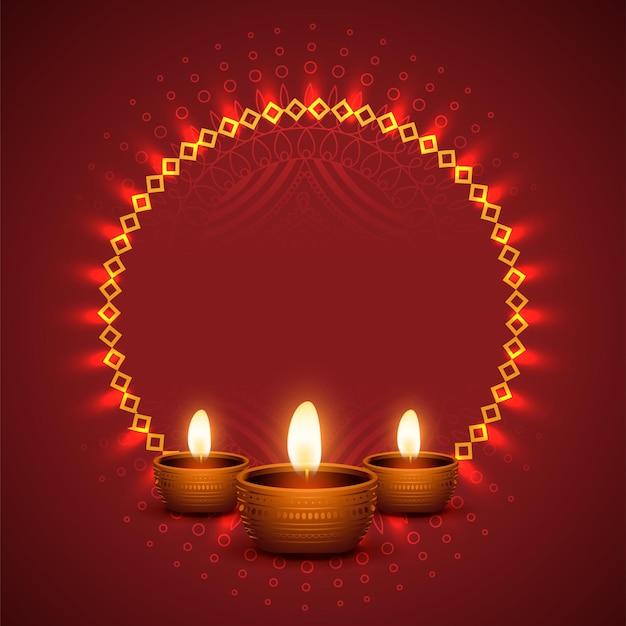 Fondo de diwali brillante con diseño diya realista