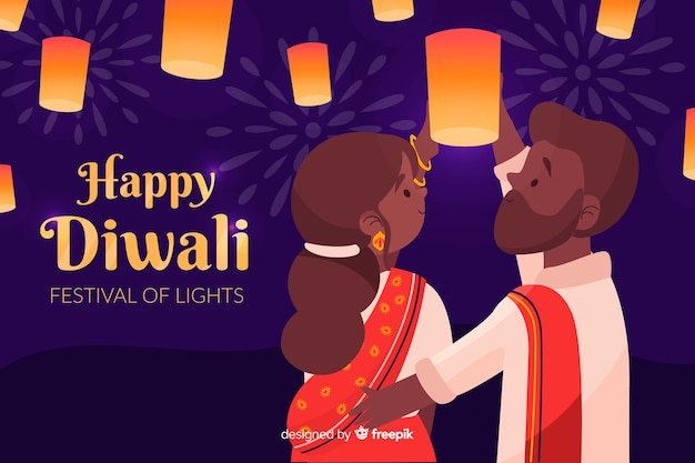 Fondo de diwali dibujado a mano con pareja