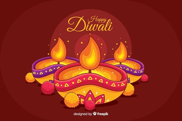 Fondo diwali dibujado a mano