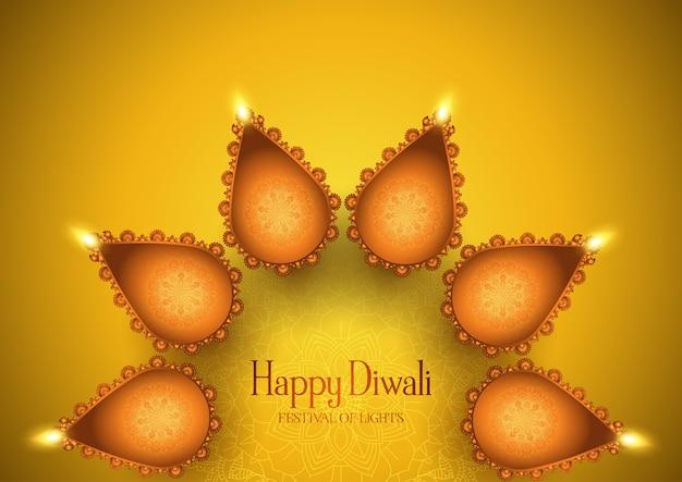 Fondo de diwali con diseño de lámparas de aceite decorativas.