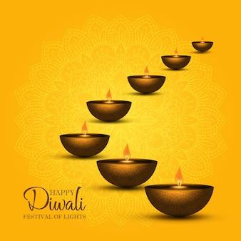 Fondo de diwali con diseño de lámparas de aceite.