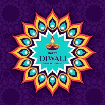 Fondo de diwali de diseño plano con vela