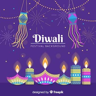 Fondo de diwali de diseño plano