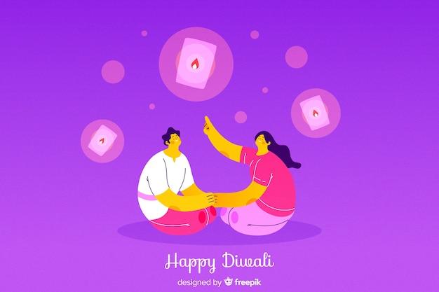 Fondo de diwali de estilo dibujado a mano