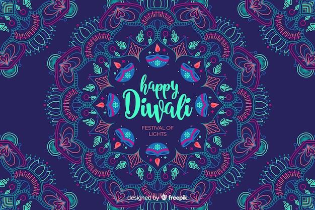 Fondo de diwali feliz dibujado a mano