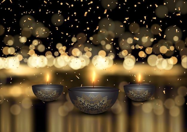Fondo de diwali con lámparas de aceite y confeti dorado.
