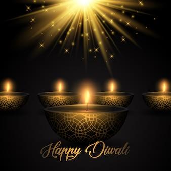 Fondo de diwali con lámparas de aceite en el fondo de starburst