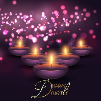 Fondo de diwali con lámparas sobre un fondo de luces bokeh