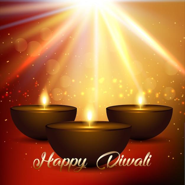 Fondo de diwali con luces bokeh y lámparas