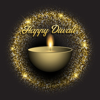 Fondo de diwali con luces brillantes de oro