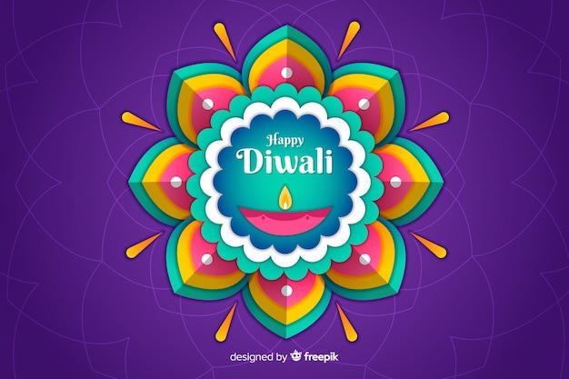 Fondo de diwali en papel estilo con flor abstracta