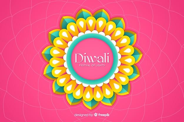 Fondo de diwali en papel estilo sobre fondo rosa