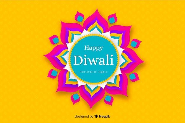 Fondo de diwali en papel estilo en tonos amarillos