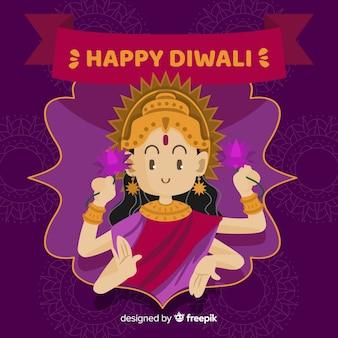 Fondo diwali shiva dibujada a mano