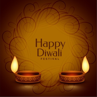 Fondo de diya realista decorativo feliz diwali