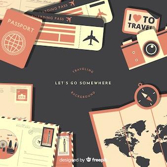 Fondo documentos de viaje planos
