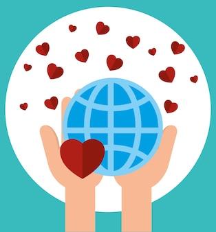 Fondo de donación de caridad con corazones y esfera