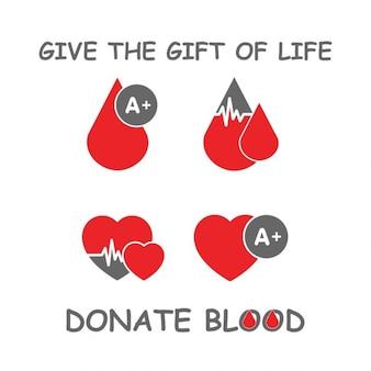 Fondo de donación de sangre con gotas y corazones