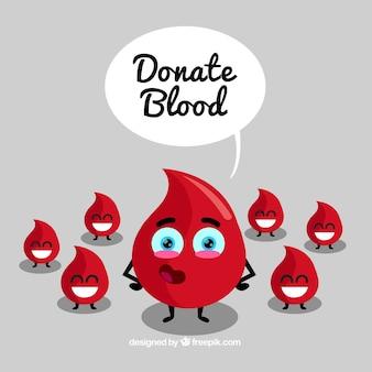 Fondo de donación de sangre con gotas felices