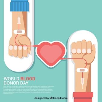Fondo de donantes de sangre en diseño plano