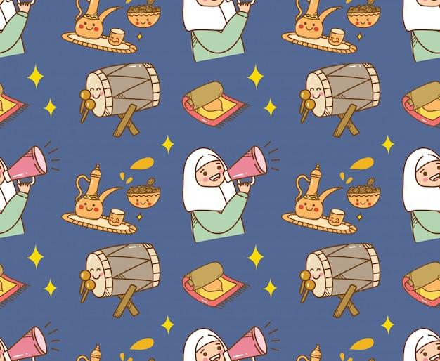Fondo de doodle de dibujos animados islámicos