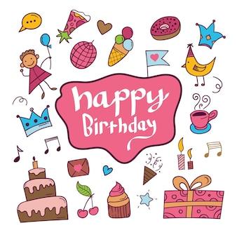 Fondo de doodle de feliz cumpleaños en negro