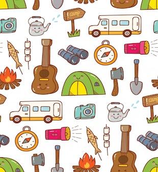 Fondo del doodle kawaii camping