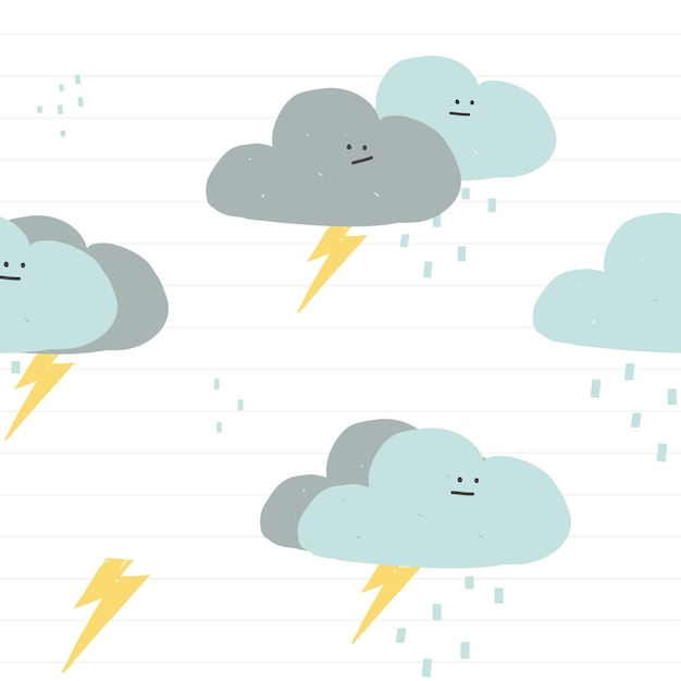 Fondo de doodle lindo vector de patrones sin fisuras de nubes lluviosas para niños