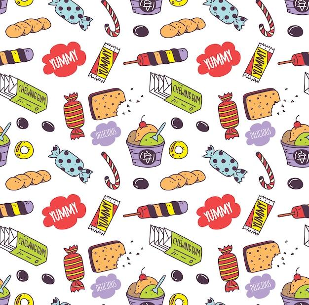 Fondo de doodle de varios snacks