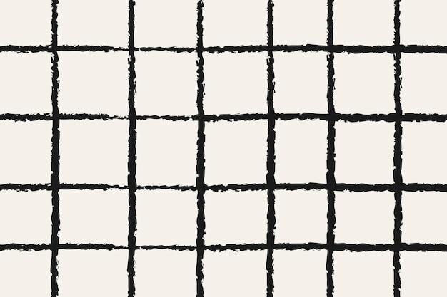 Fondo de doodle, vector de diseño de patrón de cuadrícula negra