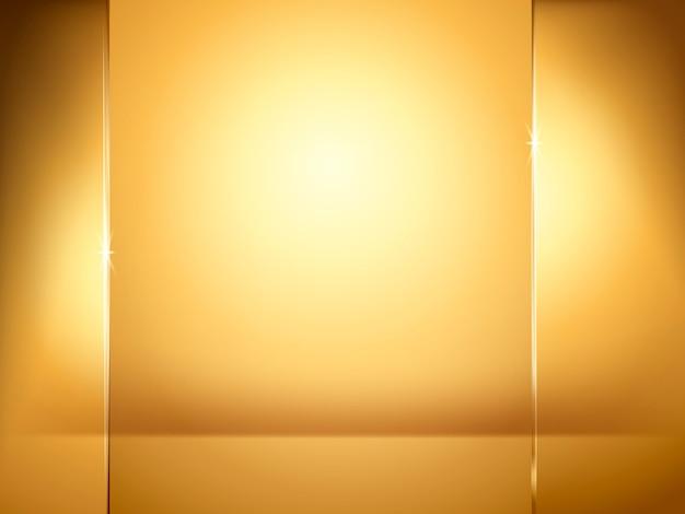 Fondo dorado abstracto, iluminación y elementos de placa de vidrio en la ilustración