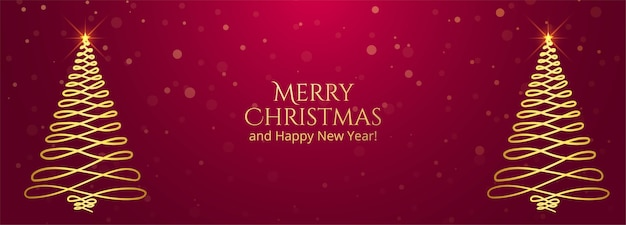 Fondo dorado de la bandera de la tarjeta de felicitación del árbol de navidad