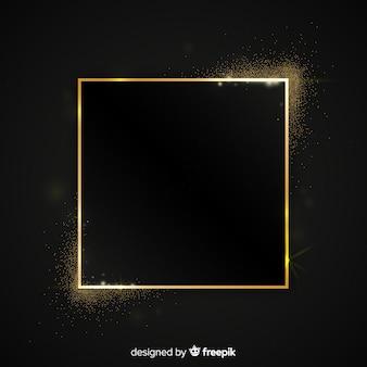 Fondo dorado brillante marco cuadrado