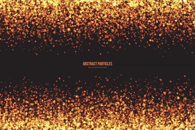 Fondo dorado brillante de partículas cuadradas