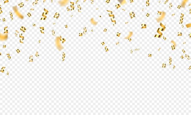 Fondo dorado de confeti 3d, fiesta o celebración. oropel, cinta y purpurina del premio de vuelo de oro. decoración de vector festivo de vacaciones