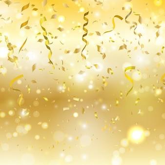 Fondo dorado con confeti y serpentinas