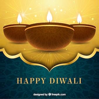 Fondo dorado de feliz diwali