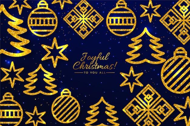 Fondo dorado de decoraciones para árboles de navidad