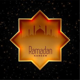Fondo dorado decorativo islámico de ramadan kareem
