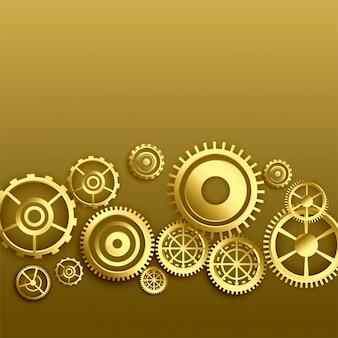 Fondo dorado de engranajes metalizados.